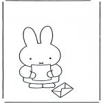Детские раскраски - Кроличка с письмом
