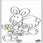 Раскраски с животными - Кролики 2