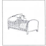 Детские раскраски - Кроватка