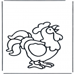 Раскраски с животными - Кукарекающий петух