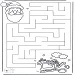 Рождественские раскраски - Лабиринт Рождество 2