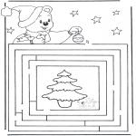 Рождественские раскраски - Лабиринт Рождество 3