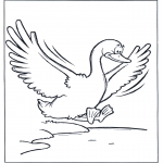 Раскраски с животными - Летящий гусь