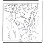 Раскраски с животными - Лев на скале
