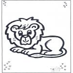 Раскраски с животными - Лежащий лев