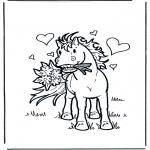 Раскраски с животными - Лощадь с цветами