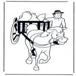 Раскраски с животными - Лошадь и повозка