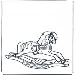 Детские раскраски - Лошадка-качалка 1