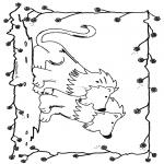 Раскраски с животными - Львы 6