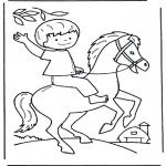 Раскраски с животными - Мальчик на лошади