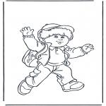 Детские раскраски - Мальчик с сумкой