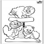 Раскраски с животными - Маленькие кошки