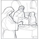 Раскраски по Библии - Мария, Марфа и Иисус