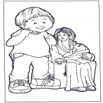 Детские раскраски - Мать с детьми 2