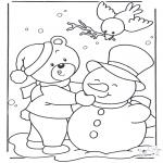 Зимние раскраски - Медведь на снегу