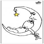 Детские раскраски - Младенец и луна