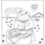 Детские раскраски - Младенец в коляске