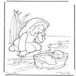 Раскраски по Библии - Моисей и его мать