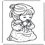 Раскраски по Библии - Молящаяся девочка