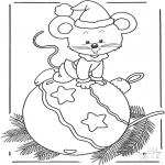 Зимние раскраски - Мышь с елочным шаром