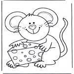 Раскраски с животными - Мышь с сыром