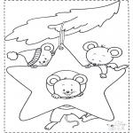 Раскраски с животными - Мыши в Рождественской звезде