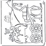 Детские раскраски - На телеге с сеном