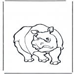 Раскраски с животными - Носорог