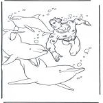 Раскраски с животными - Ныряние с дельфинами