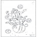 Раскраски с животными - Обезьяны на мячах