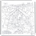 Раскраски по Библии - Около Рождественского хлева