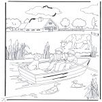 Раскраски с животными - Около ручья