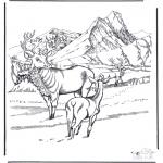 Раскраски с животными - Олени на снегу