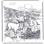 Раскраски по Библии - Осел на вербное воскресение