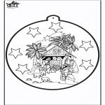 Рождественские раскраски - Открытка для вырезания - Иосиф и Мария