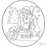 Рождественские раскраски - Открытка для вырезания колыбель