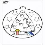 Рождественские раскраски - Открытка для вырезания - Новогодняя ёлка 1