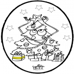 Рождественские раскраски - Открытка для вырезания - Новогодняя ёлка 3