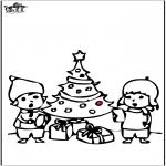 Рождественские раскраски - Открытка для вырезания - Новогодняя ёлка 4