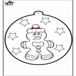 Рождественские раскраски - Открытка для вырезания - Пряник 1