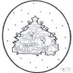 Рождественские раскраски - Открытка для вырезания Рождество 1