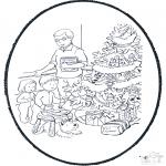 Рождественские раскраски - Открытка для вырезания Рождество 10