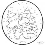 Рождественские раскраски - Открытка для вырезания Рождество 18