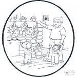 Рождественские раскраски - Открытка для вырезания Рождество 6