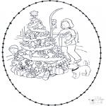 Рождественские раскраски - Открытка для вырезания Рождество 7