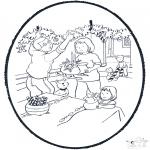 Рождественские раскраски - Открытка для вырезания Рождество 8