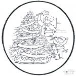 Рождественские раскраски - Открытка для вырезания Рождество 9