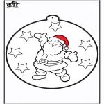 Рождественские раскраски - Открытка для вырезания - Санта-Клаус