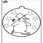 Зимние раскраски - Открытка для вырезания - Снеговик 1