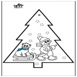 Рождественские раскраски - Открытка для вырезания - Снеговик 3